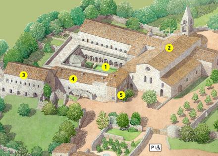 Tout pour plaire - signalétique d'accueil - Centre des monuments nationaux - abbaye Thoronet illustration