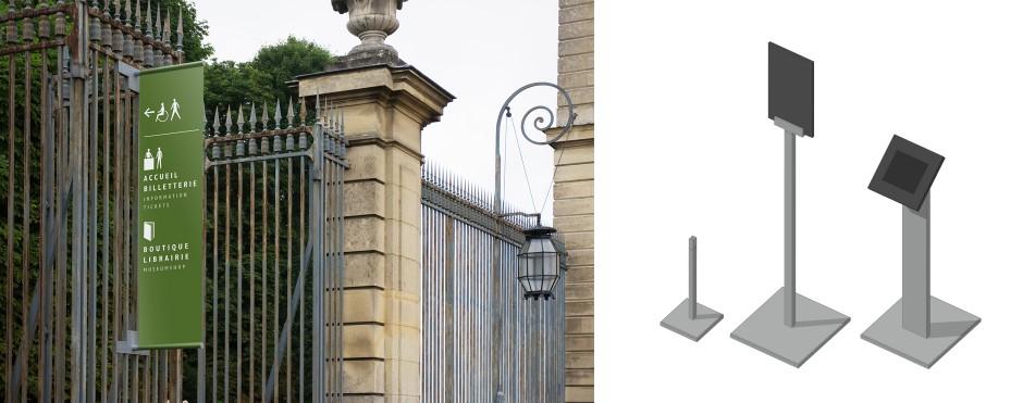 Tout pour plaire - signalétique - château de Champs-sur-Marne - gamme de mobilier - Centre des monuments nationaux